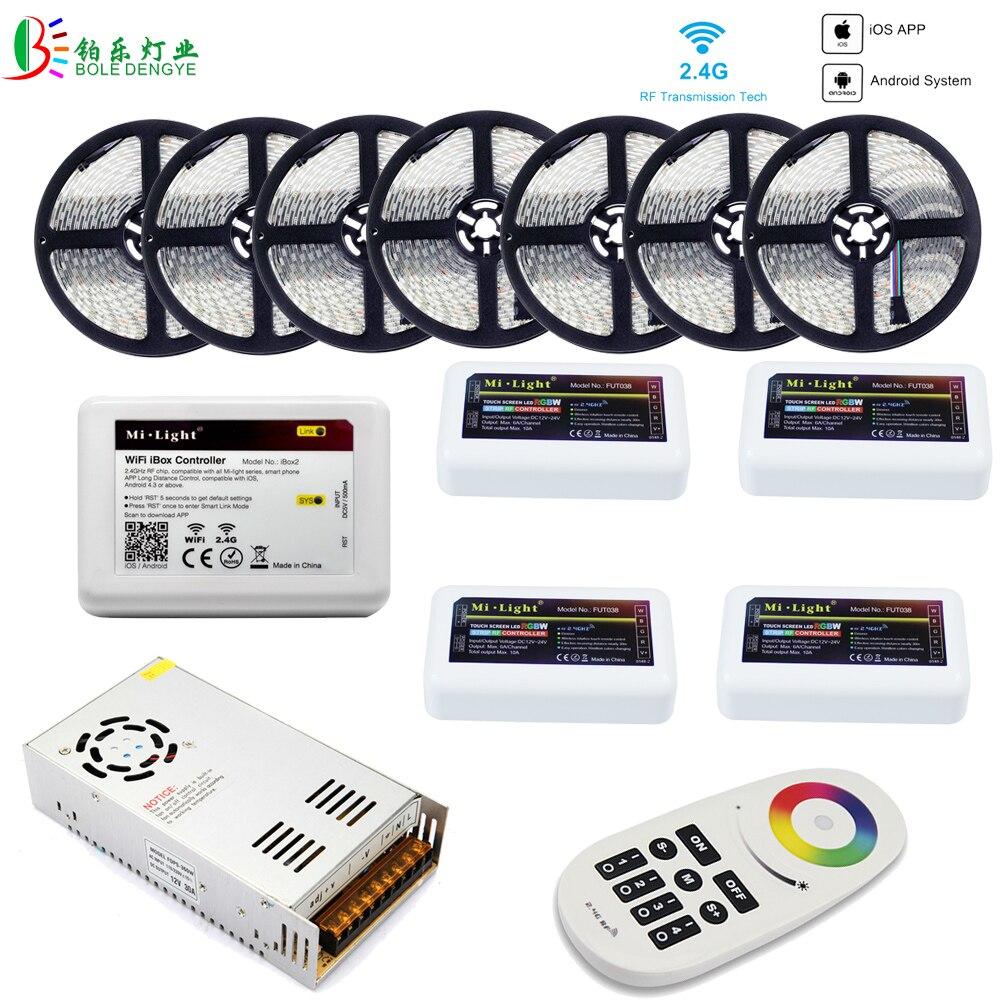 5050 RGBW WIFI LED bande étanche 40 M 20 M 10 M RGBWW LED bande + Mi lumière WIFI contrôleur intelligent RF 4 Zones à distance + alimentation