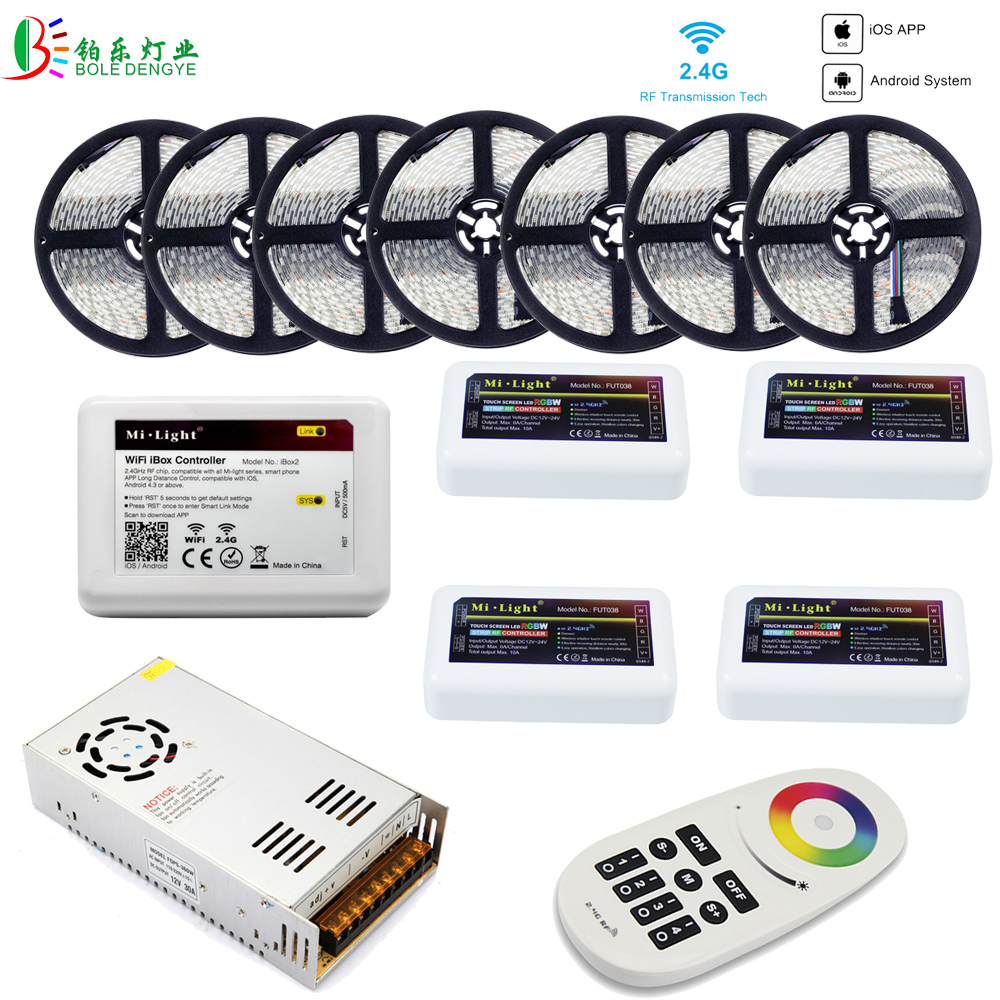 5050 RGBW WIFI LED Strip Waterproof 40M 20M 10M RGBWW LED Tape+ Mi Light WIFI Smart Controller RF 4 Zones Remote +Power Supply mi light wifi controller 4x led controller rgbw 2 4g 4 zone rf wireless touching remote control for 5050 3528 led strip