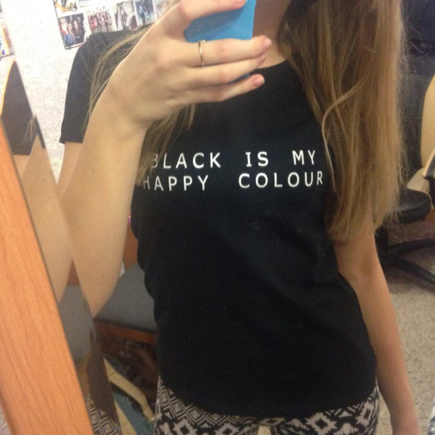 black is my happy colour letter print t shirts women black summer clothing short sleeve mujer. Black Bedroom Furniture Sets. Home Design Ideas