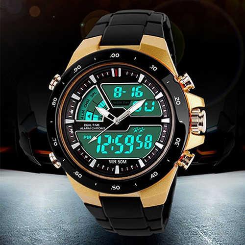 Военные повседневные спортивные 30 м водонепроницаемые кварцевые цифровые часы с двойным будильником и датой силиконовые часы мужские S Shock Relogio Masculino