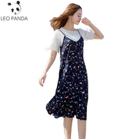 Two piece Women Suits New 2019 Fashion White Flare Sleeve Chiffon T shirt&Cotton Floral Dresses Sets (Tees+Harness Dress) LXT470