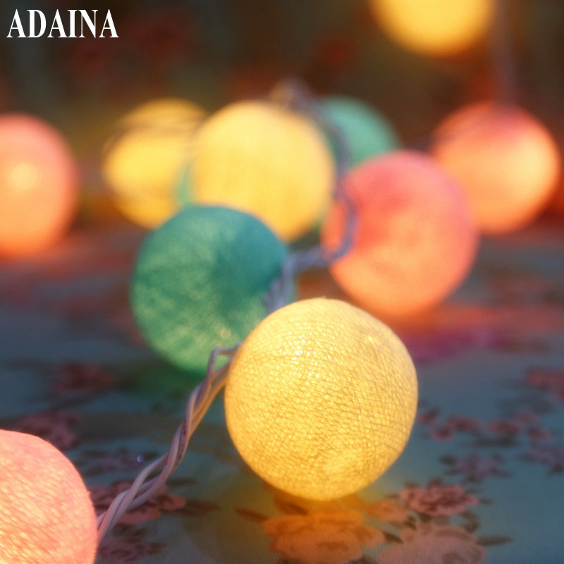 AC 35 Cotton Lighted Ball Jul Fairy String Lights, Heminredning Fiestas Lampa, Garland Strip Belysning Wedding Luminarias