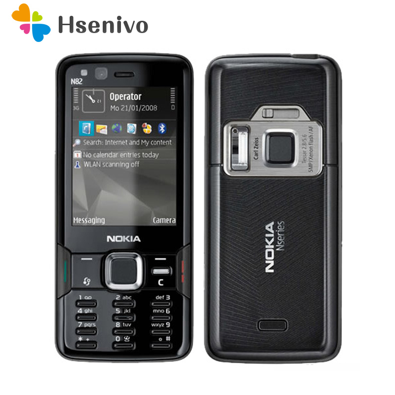 N82 Unlocked 100% Original Nokia N82 GSM 3G network WIFI 5MP camera FM 2.4 inch Mobile Phone 1 Year Warranty Free shipping