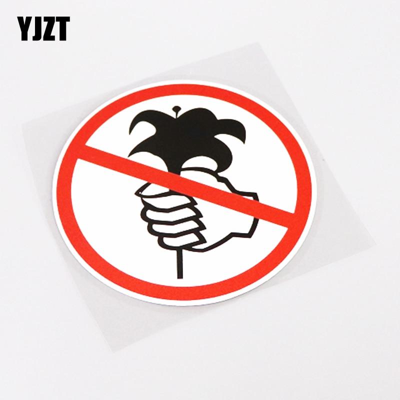 YJZT 11.9CM*11.9CM No Flower Picking Warning Mark Car Sticker Decal Decoration PVC 13-0698