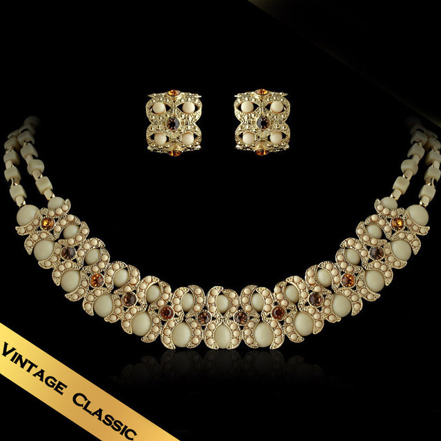 Special Jewelry Sets Necklaces & Stud Earrings Bone China Handmade Vintage Design Free Shipping Jewelry TZ13A0292