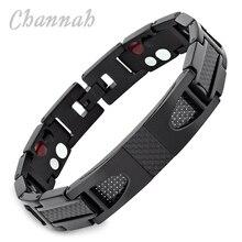 Channah 2017 Титан черный браслет для Для мужчин 4 в 1 магнитные ювелирные изделия Черный углеродного Волокно стилист браслет германий браслет Шарм