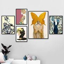 Wall Art Canvas Painting Abstract Sexy Woman Leaf Flower Nordic Posters And Prints Body Art Wall Pictures For Living Room Decor(China)