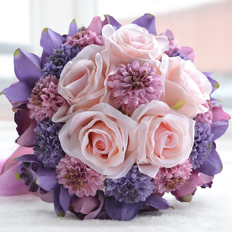 Send the bride holding flowers purple pink wedding the groom send the bride holding flowers purple pink wedding the groom european style bride wedding bouquet girlfriends wedding gift in wedding bouquets from weddings mightylinksfo