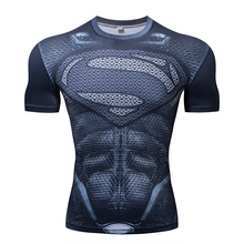 Superman Printed Tshirts Men Compression Top Fitness T-shirts 2019 Novelty Slim Summer Tight Tee Superhero Gym New Style