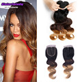 cheap virgin hair with closure bundle peruvian ombre 1b/4/27 grace hair company 3 bundles with closure body wave Peruvian human