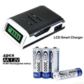 C905W 4 Slots LCD Display Smart Charger Battery for AA AAA NiCd NiMh Battery Charger + 4pcs 1.2V AA Rechargeable Batteries