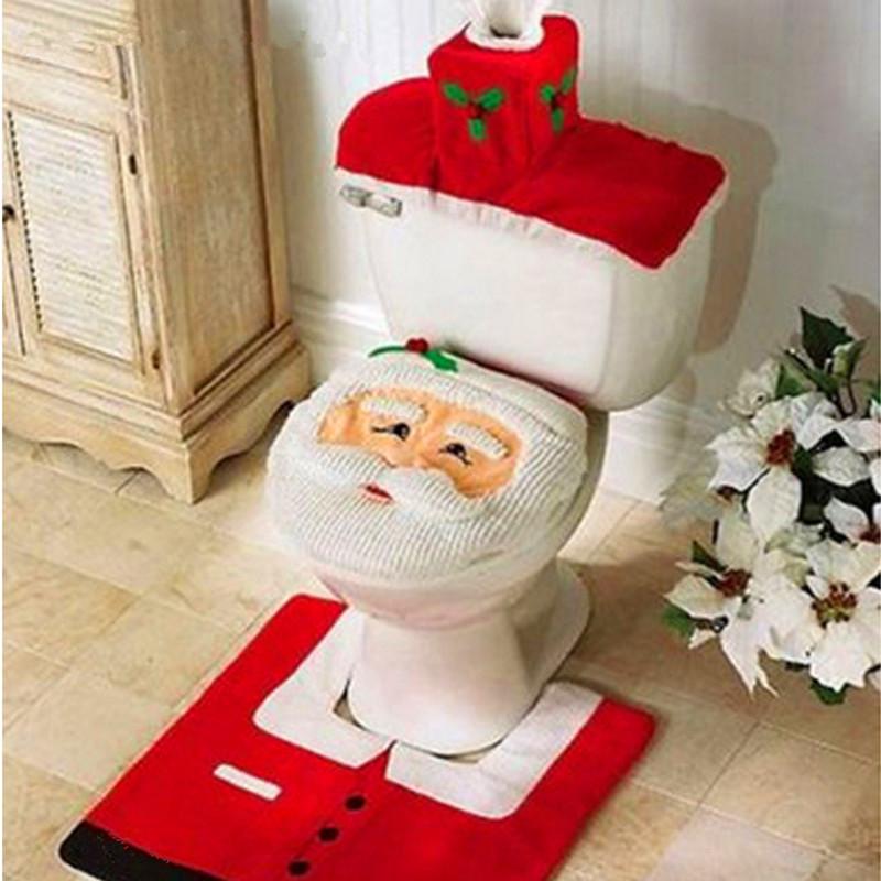 asiento del inodoro cubierta de papel decoracin para el hogar de santa de navidad juego de