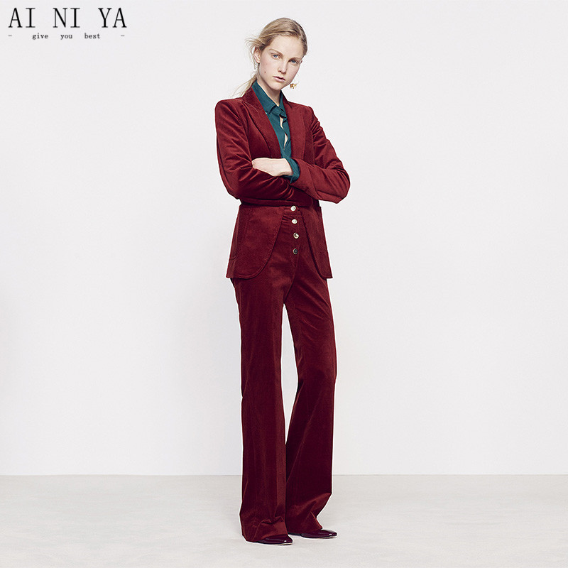 Wine Red Women Casual Office Business Suits Velvet Formal Work Wear 2 Piece Sets Office Uniform Styles Elegant Pant Suits Custom