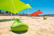 Beach SunShade Beach Tent With Sandbag Anchors & 2 FREE Poles UPF50+ Quality Lycra Fabric – Perfect Sun Shelter