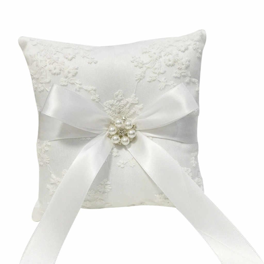 ลูกไม้สีขาวงานแต่งงานแหวนหมอน Alliance เจ้าสาวแหวน Bearer หมอนหมอนแต่งงานพิธีตกแต่ง