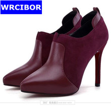 Suede leather woman shoes fashion women pumps red bottom high heels shoes womens pointed toe Thin heels office women's pumps