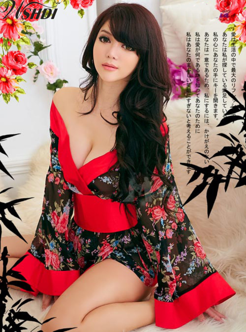 Sexy Women Kimono Japaneses Sakura Floral Printed Nighties Short Bath Robe Sleepwear Japan Spa Robes Sexy Costumes