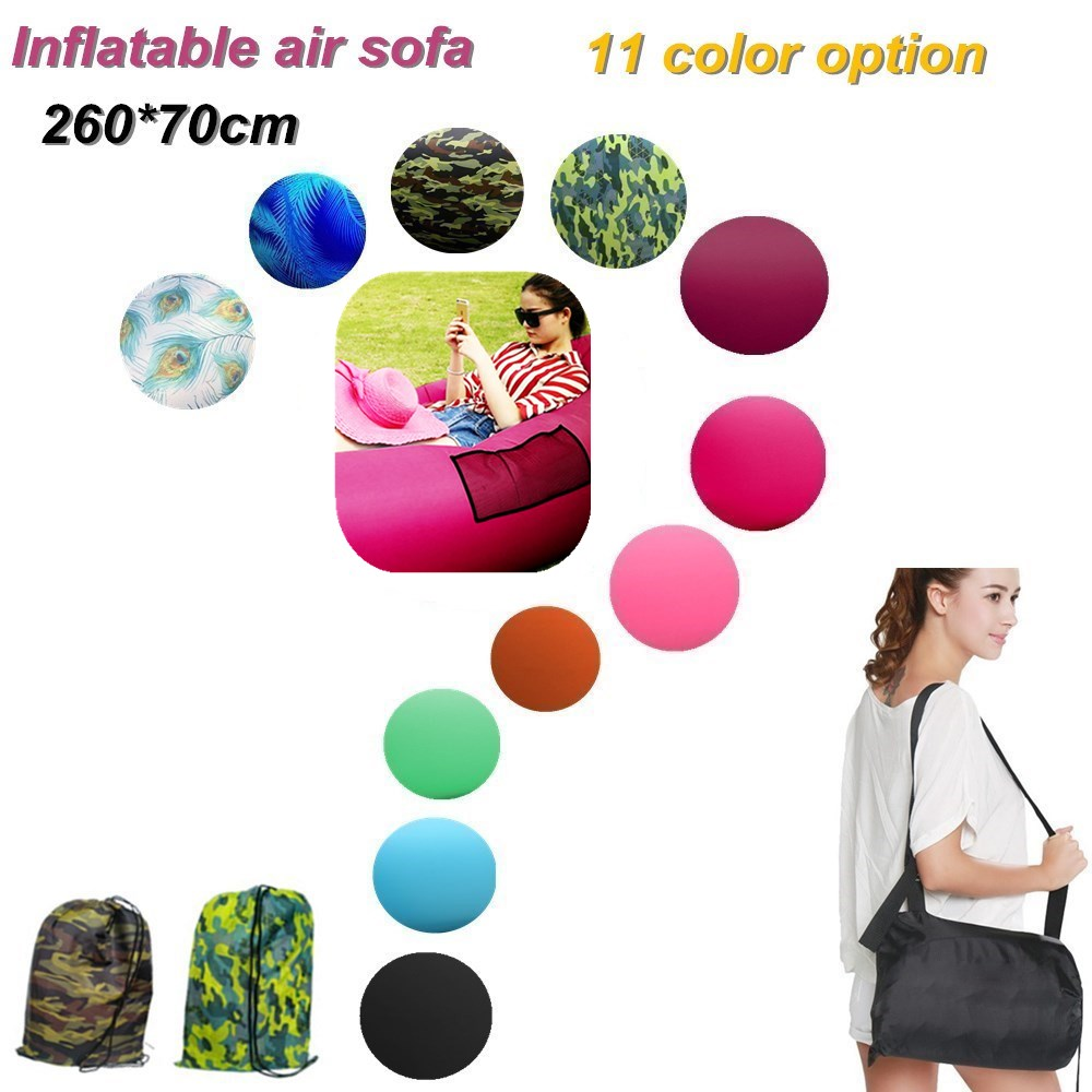 Inflatable Air Sofa Laybag 1.2KG Outdoor 260*70cm Portable Beach Lazy Foldable Fast Inflatable Sofa Bed Air Sofa Sleeping Bag