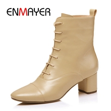 ENMAYER Ankle boots Short round  Toe lace up square heel ankle high lady shoes Big size 34-40 ZYL1087