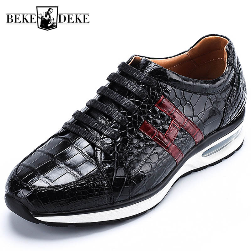 Black Genuine Leather Brand Casual Mens Sneakers Business Formal Crocodile Leather Shoes 2019 Lace Up Luxury