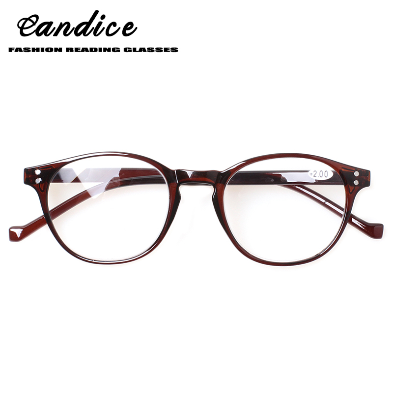 Henotin fashion round reading glasses spring hinges men's and women's readers glasses diopter 0.5 1.75 2.0 3.0 4.0 .......