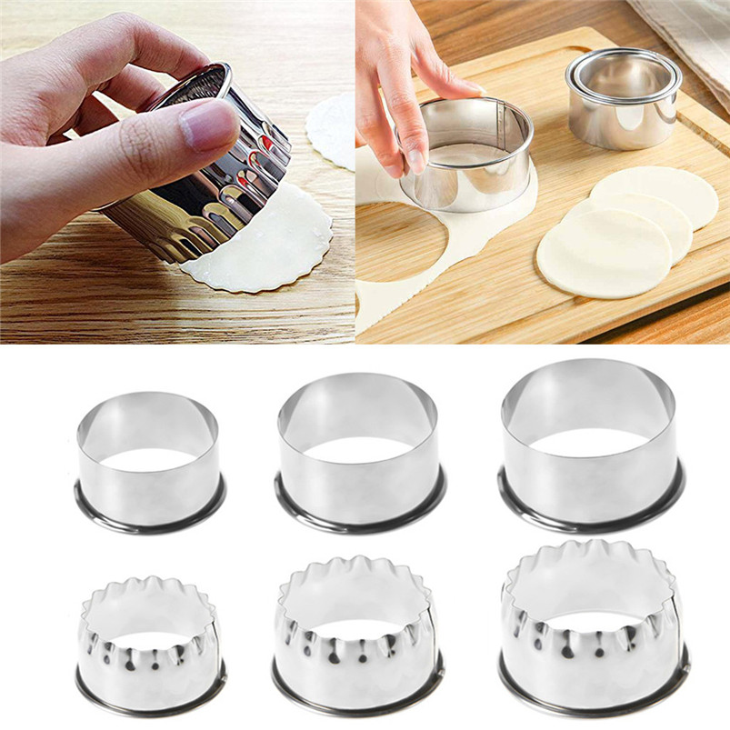 3PCS 403 Stainless Steel Dumpling Mold Round Biscuit Product Selling Point  Kitchen Accessories Silver Round Molds