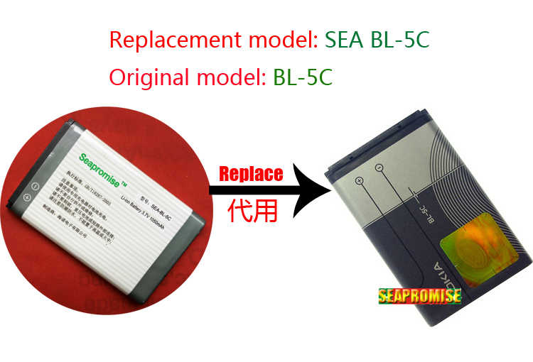 Retail battery BL-5C BL 5C BL5C for NOKIA 1100 1101 1108 1112 1116 1200 1208 1209 1255 1315 1600 1650 1680C