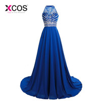 XCOS Red Crystal Top Long Prom Dress Robe De Soiree Sexy Open Back New Evening Dresses Party Gowns Vestido De Festa 2018 New