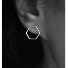 E0146 Simple Design Fashion Hexagon Stud Earrings For Women and Girls Punk Style Exquisite Jewelry Female Earrings High Quality