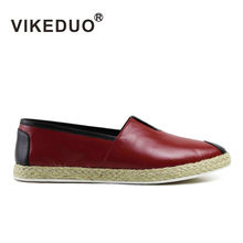 2017 Vintage Mens casual shoes Italy design Slip On shoes 100% Genuine leather patina shoes Handpainted shoe