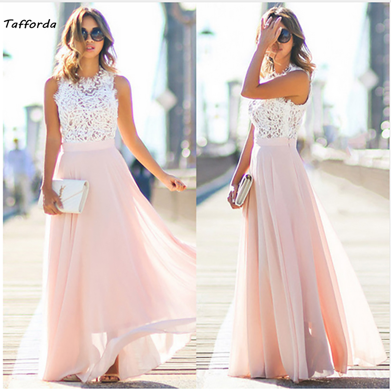 Tafforda 2018 Spring New Model Sexy Retro Lace Splicing Chiffon long Dress Wedding or Party Woman Dresses