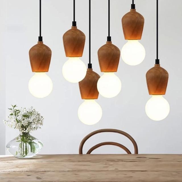 Vintage Novelty Diy Retro Wood Pendant Light Globle Cord Pendant