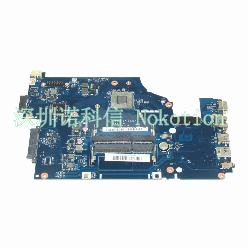 NOKOTION NBMLF11005 NB.MLF11.005 Laptop motherboard For acer aspire E5-521 Z5WAE LA-B232P Mainboard Works nokotion laptop motherboard for acer aspire 5551 nv53 mbbl002001 mb bl002 001 mainboard tarjeta madre la 5912p mother board