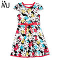 2017 New Arrival Girl Minnie Dress Sleeve Cartoon Little Girls's Belted Minnie-Print Dress Summer Fashion Children's Kids