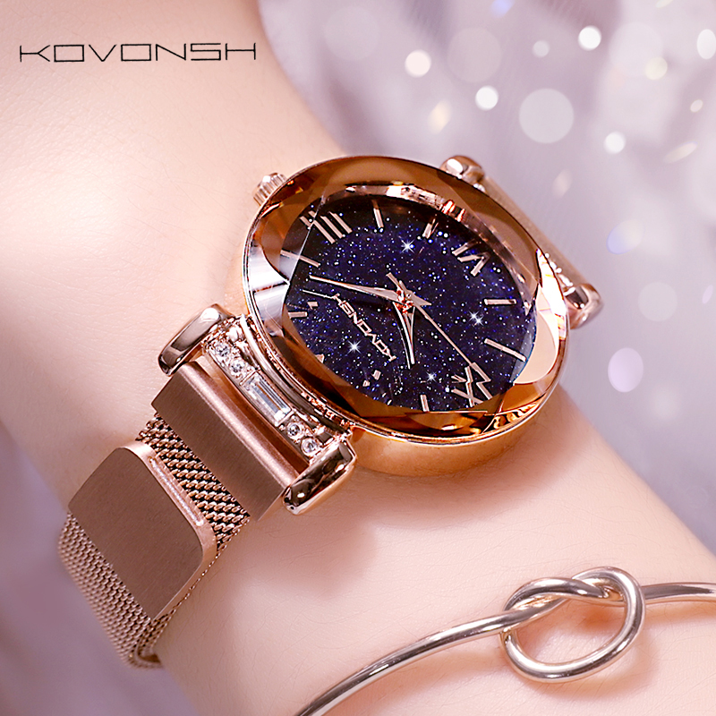 KOVONSH femmes étoilées montres magnétique maille ceinture bande dame montre en acier inoxydable de luxe mode robe montre Quartz montres - 3