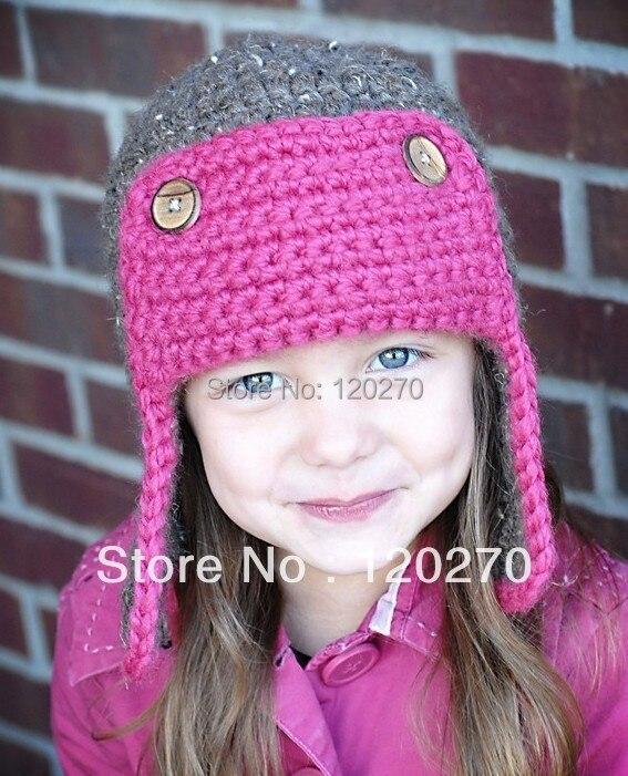 Free Shipping Handmade Crochet Aviator Hat Pattern Knitted Animal