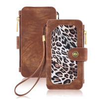 NEW Leather Leopard Wallet Case Cover Holster Flip Book Design Magnetic Closure Flip Cases Card Slots