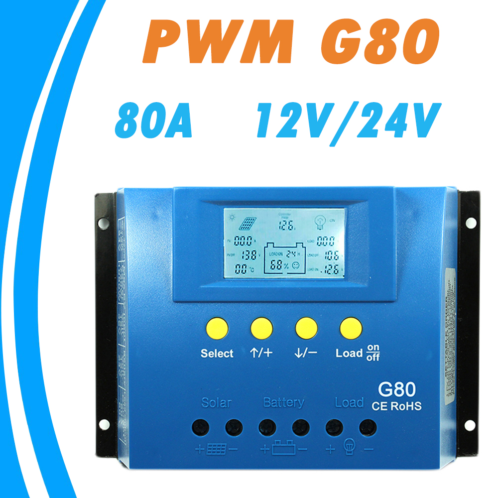 Buy Y Solar 80a Controller 12v 24v G80 Pwm Mode 6a Small Charge Control Ce Backlight Lcd Display Panel Regulator With Load Light And Timer New From