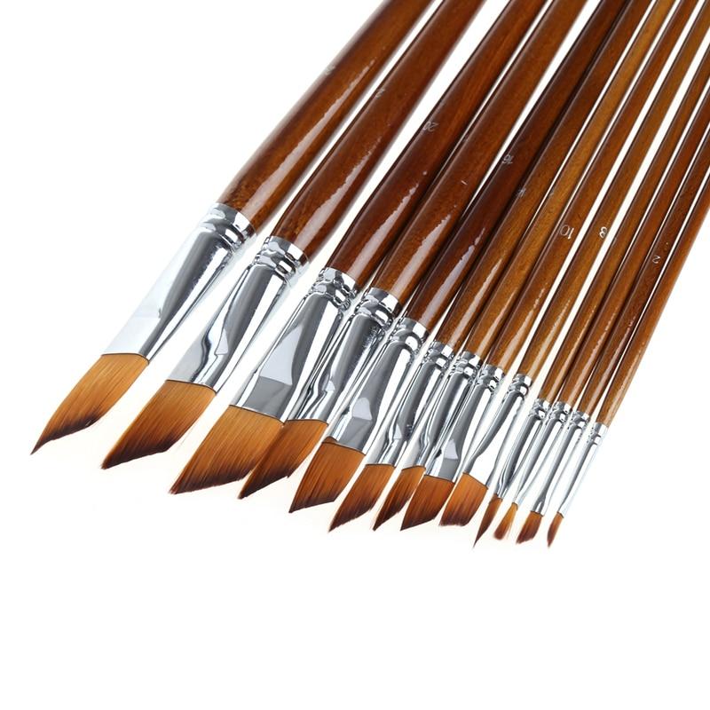 13Pcs Artist Paint Brush Set Nylon Hair Acrylic Watercolor Oil Drawing Painting Drop Ship