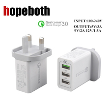 hopeboth Luxury Quick Charge QC 3.0 3 Port USB Wall Charger Adapter UK Plug For Smartphone For iPhone For Samsung Galaxy S6