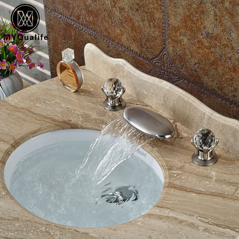 цена на Double Cristal Handle Waterfall Bathroom Basin Sink Faucet Deck Mount Brushed Nickel Mixer Taps