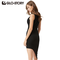 GLO STORY 2016 Women Dress Casual Summer Women Clothing Asymmetrical Dresses Sleeveless And Solid Dresses