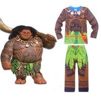 Maui Chłopcy Piżamy Moana vaiana Kostium Dziewczyny Piżama boże narodzenie Piżama Pijamas Dla Dzieci Chłopcy Z Długim Rękawem t-shirt + Druku odzież Ustaw