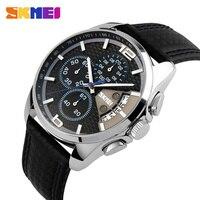 Mens Watches Top Brand Luxury SKMEI Men Military Sport Wrist Watch Chronograph Leather Quartz Man Watch