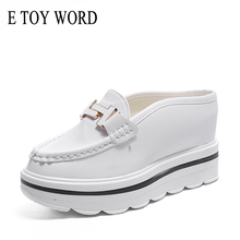 E TOY WORD 2019 Woman mules shoes slippers White metal buckle design women slippers Baotou Platform Shoes Wedges Slipper цена 2017