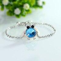 Owl Bracelets & Bangles For Women Sea Blue Austrian Crystal Animal Gift Female Snake Chain Fit European Charms Female Jewelry