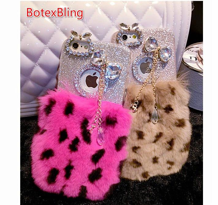 BotexBling Fluffy lapin cheveux strass glitter couverture cas de fourrure pour iphone X couverture pour iphone 8 8 plus 7 7 plus 6 6 s plus 6 plus