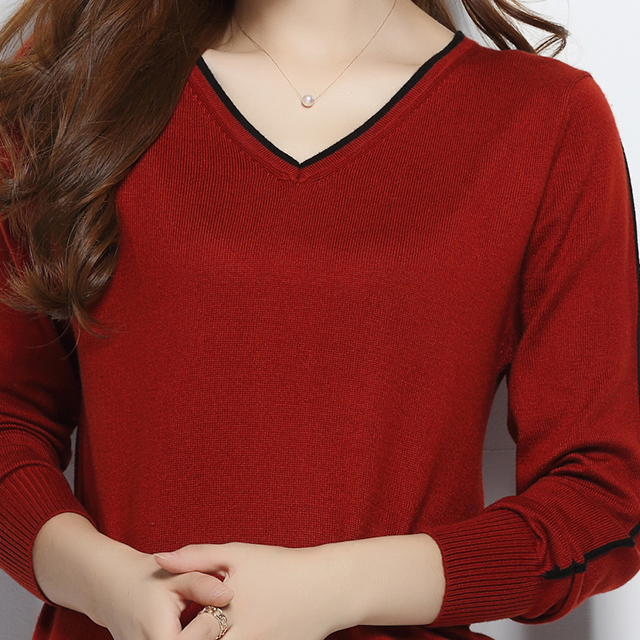 Winter  Sweater Pullover V-Neck Wool Cashmere Blending Sweater Top Slim Base Shirt Multicolors Sweaters Knitwear