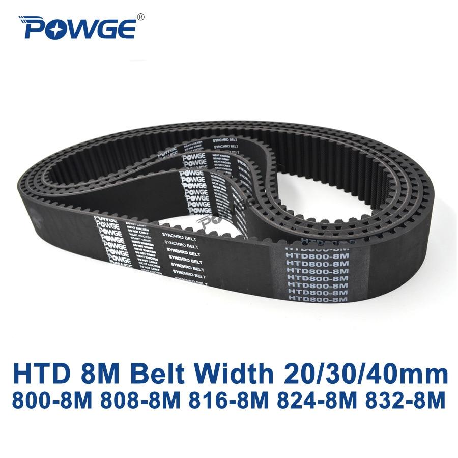 POWGE HTD 8M synchronous Timing belt C=800/808/816/824/832 width 20/30/40mm Teeth 100 101 102 103 104 HTD8M 800-8M 816-8M 832-8M rosenberg c 816