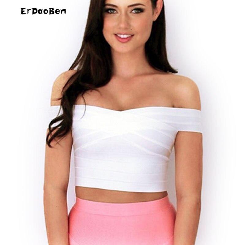 ec7ceadfaef07a ERDAOBEN Высокое качество марка леди без бретелек бинты топ женщин с плеча  короткий жилет белый красный черный цвет DR383 купить на AliExpress